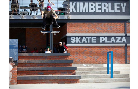 Andrew Reynolds catches one of his Classic Frontside Flips down the Big 4.